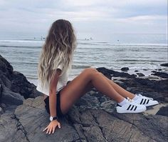 $50 - $100 Classic White And Black Striped Adidas Superstars Summer Spring Beach Shoes Trends