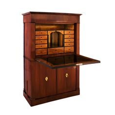 """Biedermeier: Secretaire, 1820. Mahogany Veneer, Birch Interior and delicate penwork. Dealer reports 'Secretaires were the important piece of furniture in the living room in this era. When not in use, the desktop front could be raised and the owner's private world kept safely under lock and key.""""  The mirrored niche is flanked by ebonized columns, enhanced with Neoclassical penwork. Ebony trim, brass pulls and key holes. Ample storage shelving behind doors and drawers.  www.ritabucheit.com"""