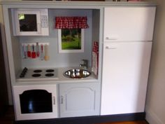 A great recycling idea . this play kitchen made from TV cabinet , is a fabulous DIY project that definitely worth re-sharing. via Giggleberry Creations Diy Kids Kitchen, Tv In Kitchen, Mini Kitchen, Toddler Kitchen, Repurposed Furniture, Kids Furniture, Refurbished Furniture, Funky Furniture, Diy For Kids