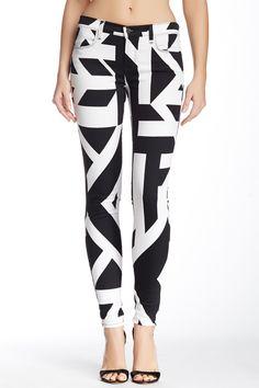 J Brand | Mid Rise Super Skinny Printed Jean