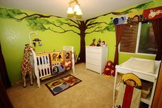 Baby boy room white furniture jungle theme baby room nursery with painted tree green walls jungle . Baby Girl Room Themes, Baby Nursery Themes, Baby Boy Rooms, Baby Boy Nurseries, Baby Room Decor, Nursery Room, Nursery Ideas, Room Baby, Room Ideas