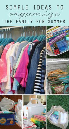 Idéias simples para organizar a família para o verão - Mama Limpo