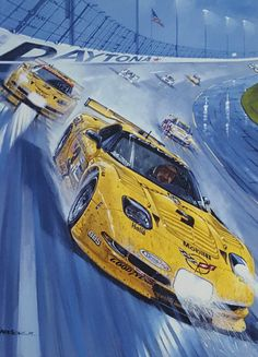 Artist: Roger Warrick Dale Earnhardt raced with his son Dale, Jr. For the first and only time at the 2001 running of the 24 Hours of Daytona.