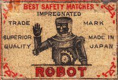 Vintage 1920s Robot Matchbox