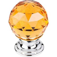 "Amber Crystal Knob 1 1/8"" w/ Polished Chrome Base - Polished Chrome"