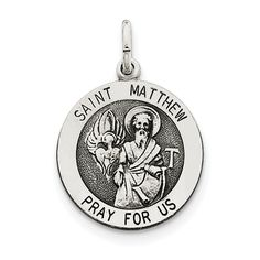 Sterling Silver Antiqued Saint Matthew Medal QC5743