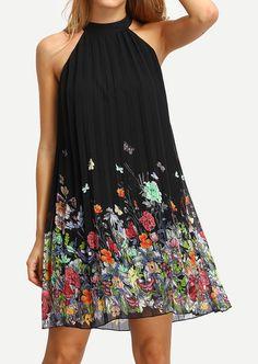 Robe fluide d'été courte sans manches, noire et imprimée champêtre - Vêtements/Robes - Sy-belle