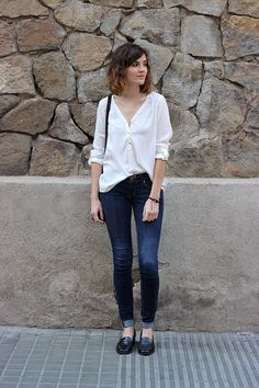 Simple and classic, with shirt + jeans + loafers + a leopard touch