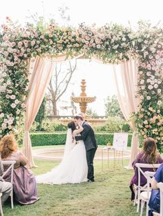 Nov 2019 - A Huge Floral Chuppah, the Cutest Flower Girl Ever and a French Fry Bar. Yup, This Wedding Wins. Wedding Arbors, Wedding Ceremony, Garden Wedding, Church Wedding Flowers, Sage Green Wedding, Vogue Wedding, Chuppah, French Wedding, Whimsical Wedding