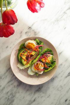 Frokost! Hjertesalat, egg, avocado, skinke og nam