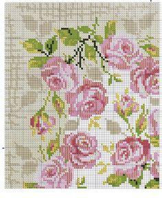 roses, cross stitch, intarsia knitting pattern