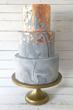 Besides the marble wedding cakes are beautiful and luxury they are big trend in this year. These outstanding cakes come in just about any shade you like.