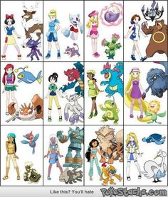 Disney Princesses as Pokemon trainers with their Pokemon! So cute :) And Odette from The Swan Princess!