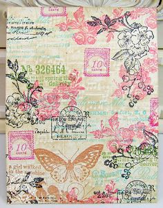 Flowers, butterfly and old postage stamps collage background paper