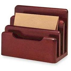 Rolodex Wood Tones Desktop Sorter, 3 Sections, Wood, Mahogany ROL23420