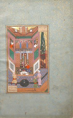 This painting once formed part of a rare surviving illustrated copy of Farid al-Din 'Attar's mystical poem, the Mantiq al-tair (Language of the Birds). Originally commissioned in the late fifteenth century, the manuscript was left unfinished, completed over a century later during the reign of the Safavid ruler Shah 'Abbas I. Four new paintings were added at that time, including this seventeenth century illustration for the story of a ruffian who spares the life of a poor man.