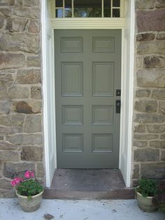 Our restored side door at Fieldstone Hill was once split in half. Front Door Paint Colors, Grey Stone House, Old Stone Houses, Stone Porches, Fieldstone, Doors, House Restoration, House Front Door, Shutter Colors