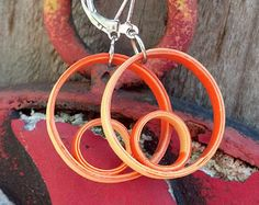 Orange Blue Dangle Quilling Paper Earrings by GermanistikArt