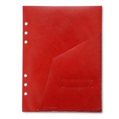 KAKURA/LEATHER FREE POCKET レッド 5040yen システム手帳に追加する便利なフリーポケットにレッドが新登場!