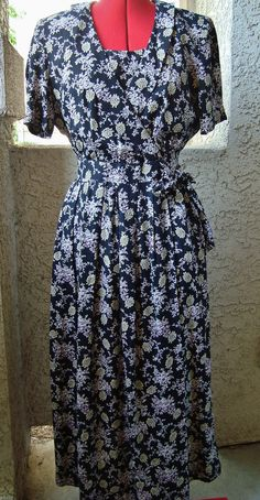 90s Karin Stevens Rayon Print Dress 40s Style by ObsoleteBoutique