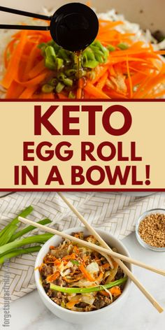 Missing the delicious flavors of egg rolls? Try this flavorful Keto Egg Roll in a Bowl instead for a mere net carbs per serving! Low Carb Dinner Recipes, Keto Dinner, Lunch Recipes, Diet Recipes, Recipies, Keto Takeout, Egg Roll Recipes, Low Carb Meal Plan, Lunch Meal Prep