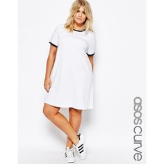 ASOS CURVE T-Shirt Dress With Contrast Tipping ($30) ❤ liked on Polyvore featuring dresses, plus size, white, plus size dresses, tshirt dress, plus size t shirt dress, tee shirt dress and plus size white dress