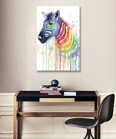 This Rainbow Zebra Wrapped Canvas by iCanvas is perfect! #zulilyfinds