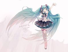 Hatsune Miku by ixima Anime Manga, Anime Art, Kaai Yuki, Miku Chan, Mikuo, Cute Chibi, I Love Anime, Pretty Pictures, Illustrators