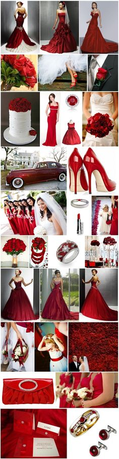Red suggests passion, fire, courage, danger and intensity. It's the sort of colour that demands respect. A hint could break up the traditional black and white wedding with glamour and style but being such a strong colour, get the balance wrong, and your theme could look like one giant lollipop! Alternatively, you can over indulge …