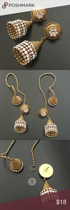 Bollywood Style Back Drops Very Traditional. Indian Bollywood Style Drops. Studded with light pink and Crystal stones. Golden Intricate Design. Not heavy. Detachable back chain. Last picture shows a style to wear it in your hair! Jewelry Earrings