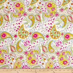 Tiddlywinks+Paisley+Pink from @fabricdotcom  By+Dena+Designs+for+Free+Spirit,+this+cotton+print+fabric+is+perfect+for+quilting,+apparel+and+home+decor+accents.+Colors+include+light+green,+yellow,+gold,+shades+of+pink+and+sky+blue+on+a+white+background.+