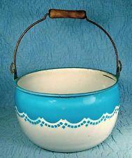 1920's Nesco Graniteware Bonny Blue Pail Bucket Wood Handle