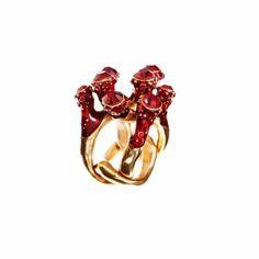 SIMON HARRISON Coral Crystal & Enamel Ring. #simonharrison #