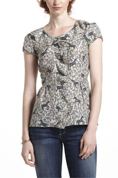 loosened ruffle blouse in grey motif from anthropologie - $88.00