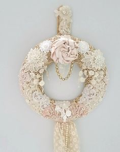 Burlap And Lace Year Round Wreath Shabby by Chiclaceandpearls