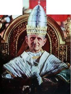 Paul VI wearing his bullet shaped papal tiara, presented by the people of Milan.