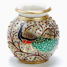 Hand Painted Peacock Marble Pot With Gold Paint And Kundan Work - Aapno Rajasthan - 68312 Peacock Painting, Marble Painting, Marble Art, Pottery Painting, White Marble, Painted Pots, Hand Painted, Kalash Decoration, Coconut Decoration