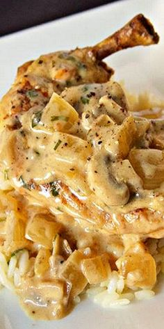 Chicken Fricassee ~ Chicken and Mushrooms in a Buttery Wine Herb Sauce
