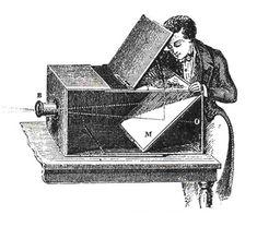 A Câmara Escura foi a primeira grande descoberta da fotografia. É uma caixa composta por paredes opacas, que possui um orifício num dos lados, e na parede paralela a este orifício, uma superfície fotossensível é colocada.  O funcionamento da câmara escura é de natureza física. O princípio da propagação retilínea da luz permite que os raios luminosos que atingem o objeto e passem pelo orifício da câmara sejam projetados no anteparo fotossensível na parede paralela ao orifício.