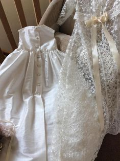 65d3e37b14f Lace Christening coat with silk Christening gown christening Christening  Dresses