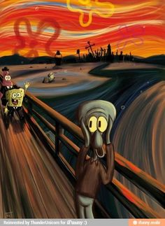 """Using Munich's """"The Scream"""" theme, Squidward screams when he sees Patrick and Spongebob coming by! A nice way to use old art with current cartoon characters watch today."""