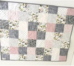 Lavender Puzzlecloth Modern Wholecloth Baby Quilt-Baby Girl