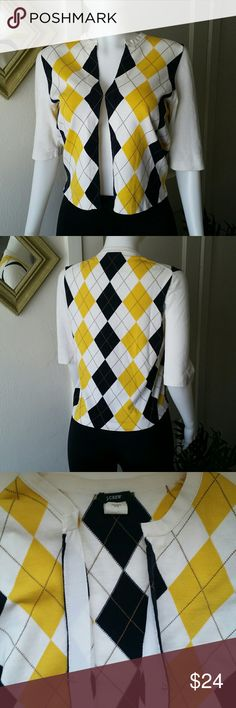 J Crew Argyle Cotton Cardigan Cute preppy cardigan for warm weather.  Hook and loop closure. White, yellow, and navy argyle pattern.  Excellent condition. J. Crew Sweaters Cardigans