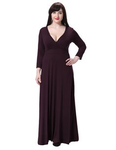 SueandJoe Women's Plus Size Dress 3/4 Sleeve Deep V Neck High Waist Wrap Maxi Dress -- Additional details at the pin image, click it  : formal dresses