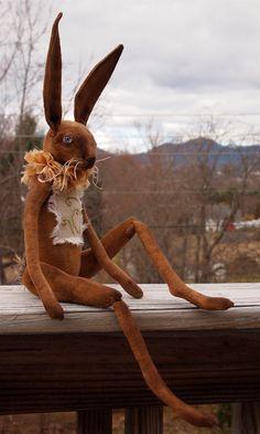 Folk Art Rabbit doll painted cloth soft от CindyRiccardelli
