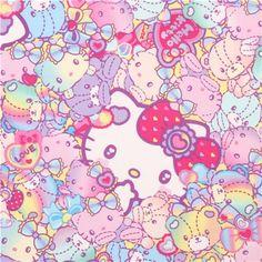 colorful neon rainbow Hello Kitty teddy bears fabric by Kokka  1