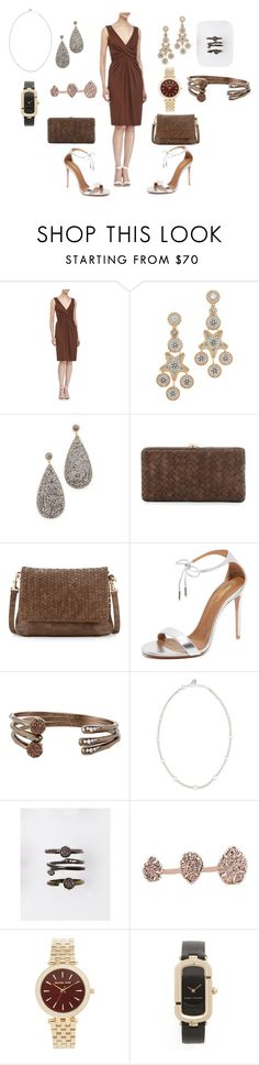 """Elegant Brown"" by hillarymaguire ❤ liked on Polyvore featuring Michael Kors, Miguel Ases, Native Gem, Neiman Marcus, Aquazzura, Kendra Scott, Majorica, Marc Jacobs, fabulous and dresslily"