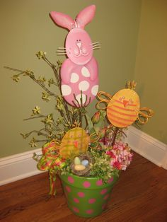 Cute easter arrangement using Round Top bunnies and chicks