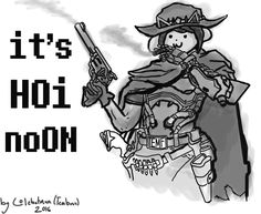 A combination of Temmie from Undertale, and McCree from the upcoming game, Overwatch.