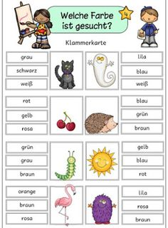 "Ideenreise: Klammerkarten ""Farben"" für DaZ English Activities, Language Activities, Preschool Activities, Learning Italian, Learning Spanish, Teaching French, Teaching English, Spanish Lessons, French Lessons"